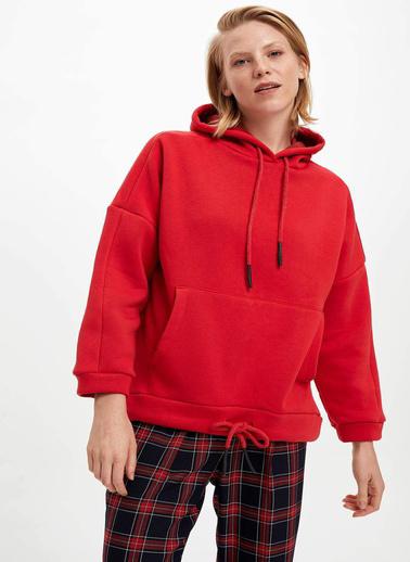 DeFacto Relax Fit Kapüşonlu Kanguru Cepli Sweatshirt Kırmızı